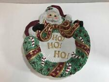 Fitz and Floyd Canape Plate Santa Wreath # 7092620