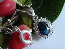 Collier Halskette mit Anhänger 925 Silber Saphir Syh Zirkonia Blau 45 cm Kette