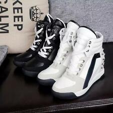 Womens Fashion Sneakers lace up sport  High Top Rivet Trainer Shoes Wedge Heel