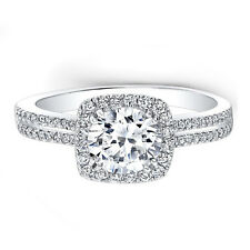 White Gold Solitaire Rings Size 7 Certified 1.55 Ct Moissanite Wedding Bands 14k