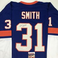 Autographed/Signed BILLY SMITH New York Blue Hockey Jersey JSA COA Auto