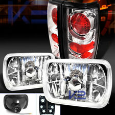 82-93 Chevy S10 Blazer GMC S15 7X6 Chrome Headlights+Clear Tail Lamps