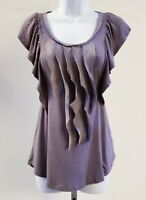 Lush Gray Ruffled Front Scoop Neck Short Sleeve Top Blouse Womens Size Large
