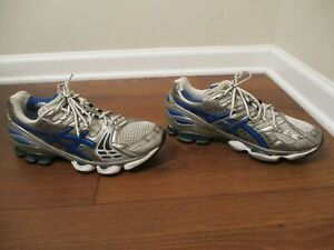 Used Worn Size 10.5 Asics Gel Kinsei 2 Shoes Silver, White, Metallic Blue, Black