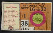 1945 Los Angeles Transit Lines Memorial Coliseum College FB Schedule USC & UCLA