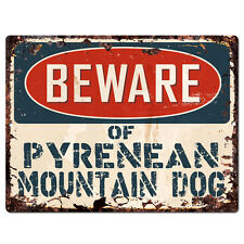 Ppdg0071 Beware of Pyrenean Mountain Dog Plate Rustic Tin Chic Sign Decor Gift