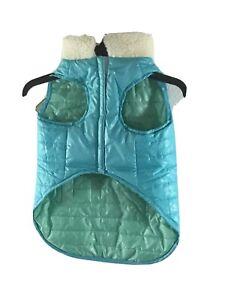 Fashion Pet Large Dog Reversible PUFFER Jacket Coat NEW Winter Pet In Blue Green