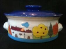 SIGNED KEMETY AUSTRALIA NAIF VILLAGE OVEN PROOF CASSEROLE DISH APPROX 22 DIAx9cm