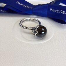 Authentic Pandora Black Spinel Garden Odyssey Flower Ring Size 54 #190848SPB
