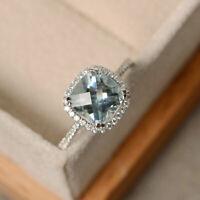 Real Diamond 950 Platinum Aquamarine 2.85 Ct Engagement Wedding's Ring Size M N