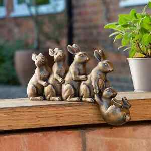 New Beautiful Design Resin 5 Bronze Rabbit Garden Ornament