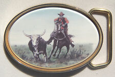 Belt Buckle Barlow Scrimshaw Carved Painte Cowpunching Horse Traditional 590411c