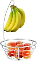 Home Basics NEW Classic Silver Chrome Fruit Basket with Banana Tree - FB41046