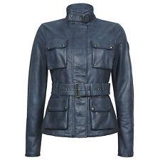 BELSTAFF WOMEN'S leather jacket rrp £ 1.250 TRIUMPH Giacca Nero XS