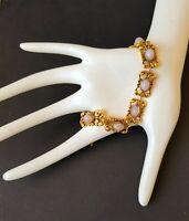 Vintage bracelet rare lilac color glass cabochon delicate gold tone work