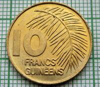 GUINEA 1985 10 FRANCS GUINEENS, PALM LEAF, UNC