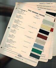 1953 LINCOLN Color Chip Paint Sample Brochure / Chart: COSMOPOLITAN, DuPont