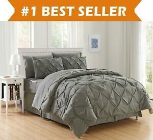 8 Piece Luxury Pintuck Style Bed in a Bag Comforter Bedding Set