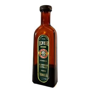 1930s LARGE SIZE 4oz BEN HUR VANILLA EXTRACT BOTTLE EARLY GREEN LABEL