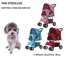 4 Wheels Folding Pet Stroller Cat Dog Cage Stroller Portable Travel Carrier Us