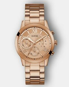 AUTHENTIC GUESS LADIES' SOLAR WATCH ROSE GOLD TONE RRP:$399 W1070L3 Brand New