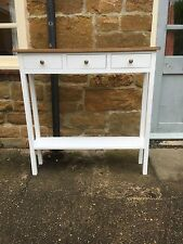 BESPOKE H100 x W100 x D25cm WHITE SATIN CONSOLE HALL TABLE 3 DRAWERS OAK TOP