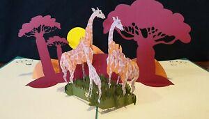 Luxurious 3D Pop Up Card.  Giraffes🦒in Safari Park, Birthday, Get Well, Blank
