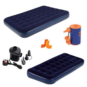 Airbed Flock Single or Double New Powerful Air Pump Camping Bed Indoor Outdoor