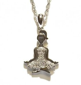 New 925 sterling silver .10ct diamond meditating Yoga woman pendant necklace