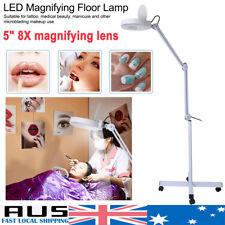 "8X Magnifying 5"" Large Glass Len LED Floor Lamp Adjustable Arm Beauty Salon wd"