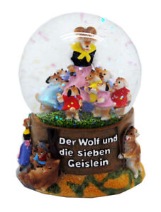 Märchen Schneekugel Wolf und 7 Geislein