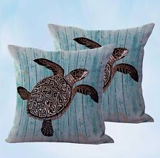 US Seller- 2 pcs turtle nautical cushion covers cheap pillow covers for throw
