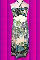 545✪ Indian Edel Hippie Maxi Kleid dress Paisley Boho Muster weiß bedruckt Gr 42