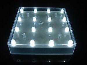 Square LED Battery Light Base 16 White Lights Wedding Table Centrepiece FREE PP