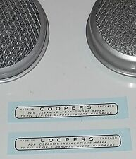 """AIR FILTERS """"COOPERS"""" LABEL for Austin Healey Sprite H1 1 1/8"""" SU Carbs 1958-61"""