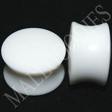 "0443 Double Flare Saddle Solid White Acrylic Ear Plugs Earlets 5/8"" Inch 16mm"
