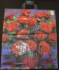NEU 50 Plastiktüten Tragetaschen im Rosen Look Rot 47x43cm Neutral TOP