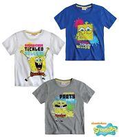 New Boys SpongeBob Short Sleeve Sponge bob Top T-Shirt 3-12 Years