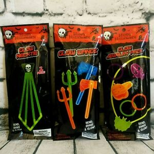 Glow in the Dark Skull Tie Ax Jewelry Ring Bracelet Necklace Wand Light Up Stic