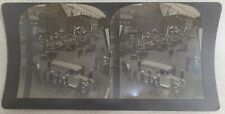 1923 Warren Harding Funeral Stereoview Card #4 Hearse in Downtown Marion, Ohio