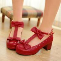 sweet Womens Cute t-strap bowknot retro Mary Janes chunky heel shoes 3 color