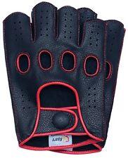 Riparo Mens Leather Reverse Stitched Fingerless Half-Finger Gloves - Black/Red