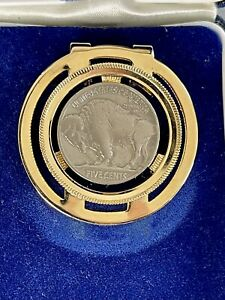 VTG SWANK Buffalo NICKEL Bison Nickel Gold Toned MONEY CLIP In Box GORGEOUS