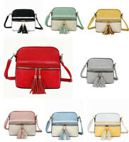 New Womens Small Faux Leather Handbag Crossbody Shoulder Bag with Tassel Charm