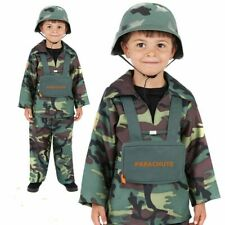 Kids Army Costume Uniform Fancy Dress Camouflage Soldier Book Day Week Outfit