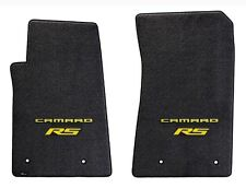 NEW! BLACK FLOOR MATS 2010-2015 Camaro Embroidered RS Yellow Double Logo set 2