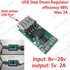 DC Buck Converter 9V 12V 24V to 5V 2A Step-down Voltage USB Module DIY Charger