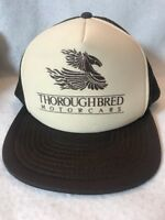 Vintage 80s 90s Thoroughbred Motor Cars Trucker Hat SnapBack Mesh Flat Brim NEW