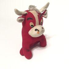 Vintage Dakin Dream Pets Stuffed Animal Plush Red Sitting Bull Cow 70s
