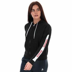 Women's Reebok TE Linear Logo Zip Hoodie Jacket in Black